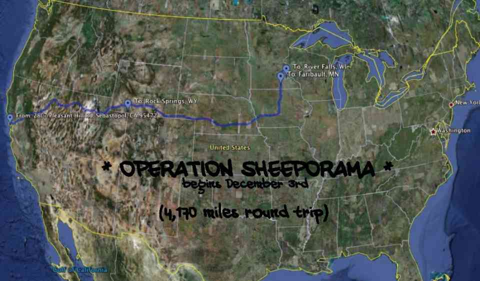 Map of Operation Sheep-O-Rama - Sebastopol, CA to River Falls, WI