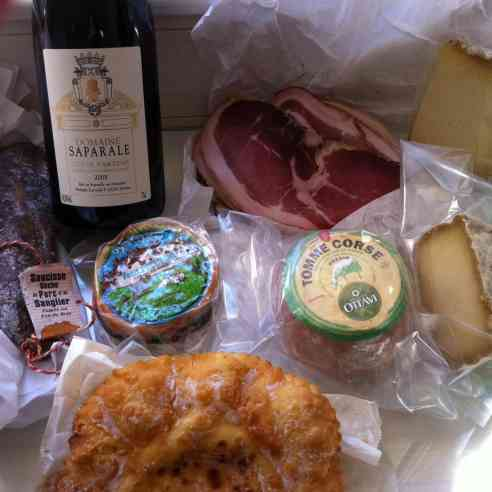 Corsican wine, sheep cheeses, charcuterie....Dinner :-)